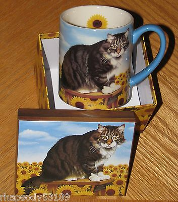 LANG Gift Mug - Lowell Herrero Art - Cat Rocky Selland - Sunflowers - New in Box