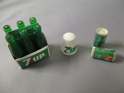 7Up Miniature Collectibles  Six Pack, Thimble, And Two Small Cans
