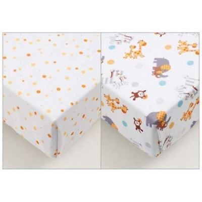 Baby Cot Bed Sheets Fitted Breathable Super Dry Cool Avoid Overheating 2 Pack