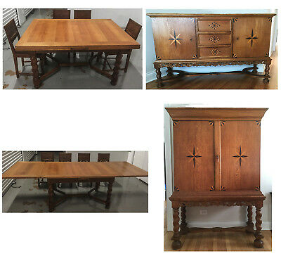 Solid Oak Scandinavian Dining Set ... Table, Buffet, Hutch and 8 chairs
