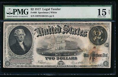 AC Fr 60 1917 $2 Legal Tender PMG 15 NET Jefferson!