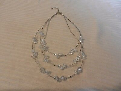 Vintage 3 Strand Silver tone Wire Necklace With Round Crystals, Locking Clasp
