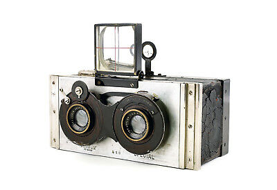 Summum Special Stereo Camera c1925 for 6x13cm plates - Polished metal body