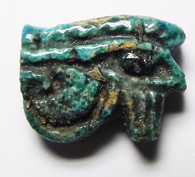 ZURQIEH - asw189- ANCIENT FAIENCE EYE OF HORUS AMULET, 1075 - 600 B.C