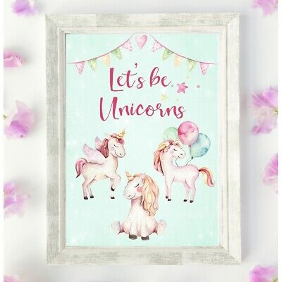 Unicorn Poster Wall Art Print Nursery Picture Unframed Pink Girls Room