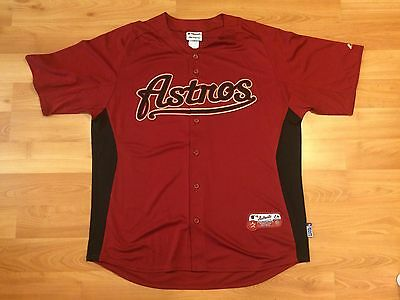 2000's HOUSTON ASTROS JERSEY MENS XL AUTHENTIC MLB MAJESTIC BASEBALL BRICK RED