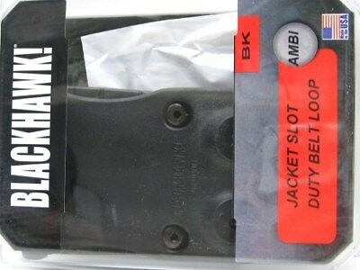 BLACKHAWK! Black JACKET SLOT Duty Belt Loop w/ HOLSTER Screws New! 44H901BK