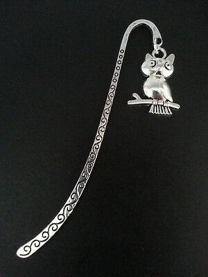 New Collectable Antique Silver Tone Metal Bookmark with Owl Shape Charm V4