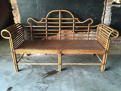 Bamboo Rattan Wicker Sofa Settee Bench Hollywood Regency 🌺gorgeous!🌺