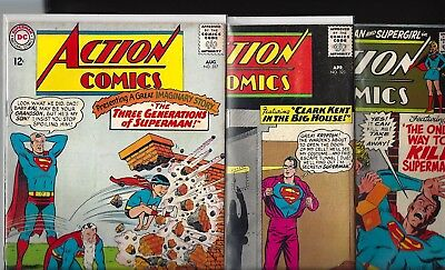 Action Comics #323, #327, #376, #392. Avg G/vg 3.0/3.5!