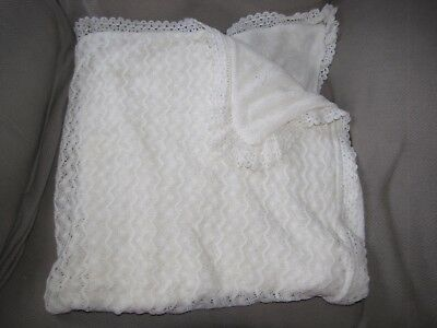 Delicate Vintage Baby Girl Knit Christening Shawl Blanket Cream Ivory
