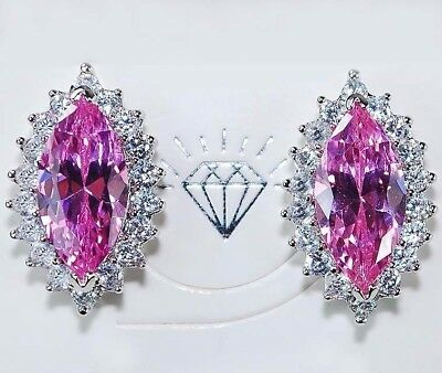 6CT Pink Sapphire & White Topaz 925 Solid Sterling Silver Earrings Jewelry, T2-5