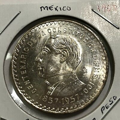 1957 Mexico Silver One Constitution Peso Near Uncirculated Beauty