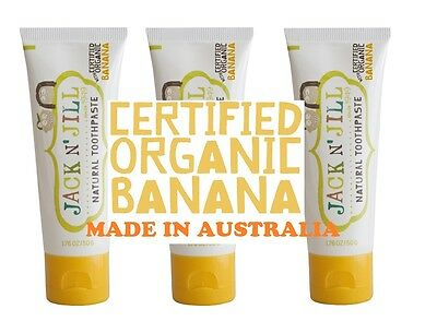 Jack n Jill Toothpaste made from all natural ingredients, Organic BANANA x 3,.