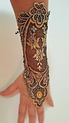 Womens Gold Black Lace Arm Sleeve Steampunk Gothic Queen Cosplay Costume NEW