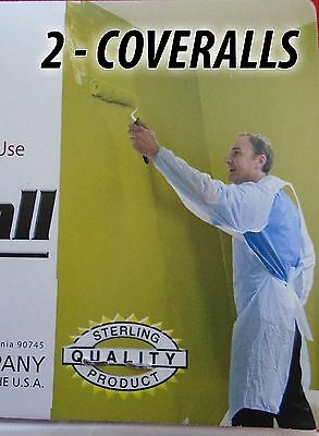 2 - Disposable Plastic Painters Coverall One Size Fits All  (Most) - 2 COVERALLS