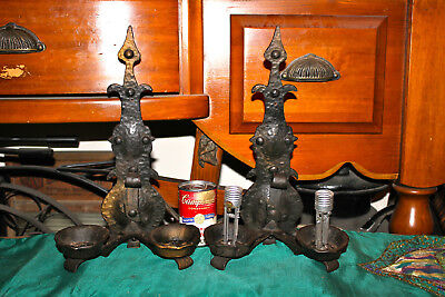 Antique Gothic Medieval Wall Sconce Light Fixture-Pair-Black Metal
