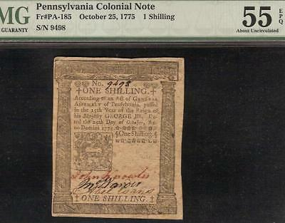 Oct 25, 1775 Pennsilvania Colonial Currency Shilling Note Paper Money Pmg 55 Epq