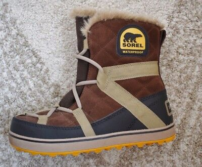 Sorel Women's Glacy Explorer Boot Shortie Lace Up Brown Leather Snow Boot