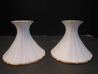 Set of 2 Christian Dior White Porcelain Candle Holders 24K Gold Trim Candlestick