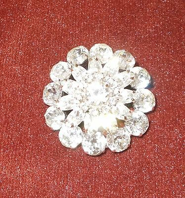 Vintage WEISS Rhinestone Brooch Pin 3 Tier Circle Silver Tone Large & Sparkly