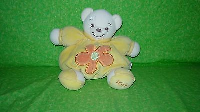 KALOO Plush Chubby Teddy BEAR Yellow Orange Flower Round Soft Stuffed Animal