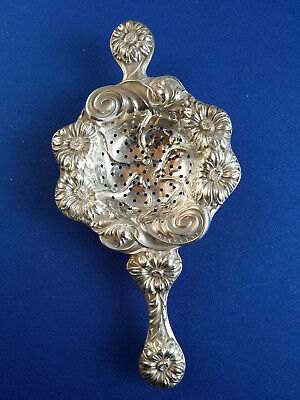 Antique Art Nouveau Sterling Silver Floral Tea Strainer
