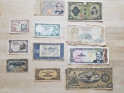 Lot of 11 Vintage Mixed Foreign World Currency Paper Money Old Collection