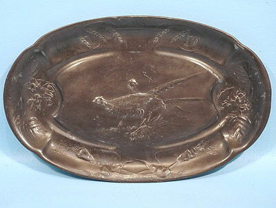 Antique German Kayserzinn Pewter Hunt Platter Pheasant Carrots Wheat Hazelnut
