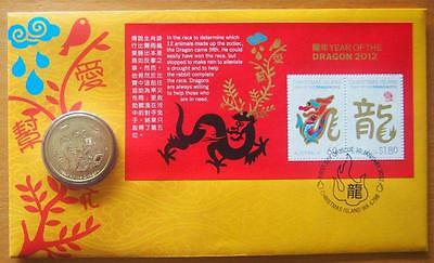 2012 Australia Year Of The Dragon Pnc Stamp & $1.00 Coin Cover