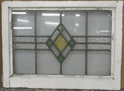 "MID SIZED OLD ENGLISH LEADED STAINED GLASS WINDOW Simple Geo 24.25"" x 17.75"""