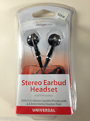NIB Wholesale Lot 10x Verizon OEM Stereo Earbud Headset 2.5mm Black Answer/En