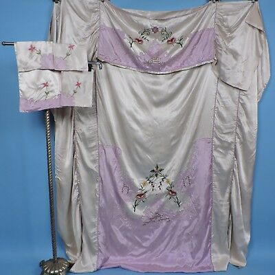 1920'S Pink Chenille Embroidered Slipper Satin Bedspread Bed Spread Set