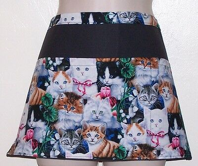 Black apron kittens and flowers server waiter waist apron 3 pockets