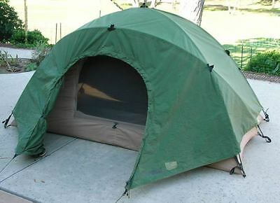 USMC 2 Person Tactical Combat Tent & Rain Fly,OD GREEN, W/POLES, USED Good