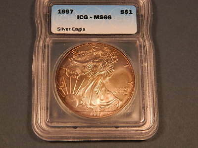 1997  American Eagle~ 1 oz .999 Fine Silver ICG MS 66 RARE Semi- KEY DATE TONED!