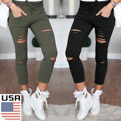 Women Leggings Ladies Stretch Faded Ripped Slim Fit Skinny Denim Jeans Pants USA