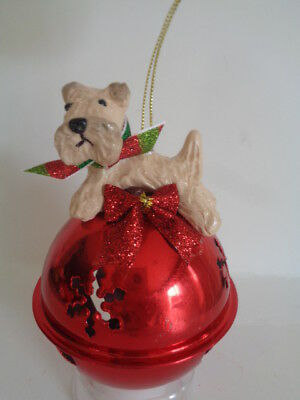 New***wheaten Terrier Red Jingle Bell Christmas Ornament***large Ornament Piece!