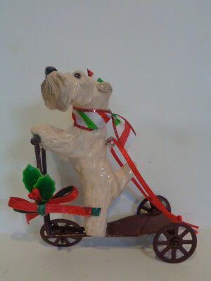 Ooak*****wheaten Terriers Riding On A Cute Metal Scooter Christmas Ornament*****