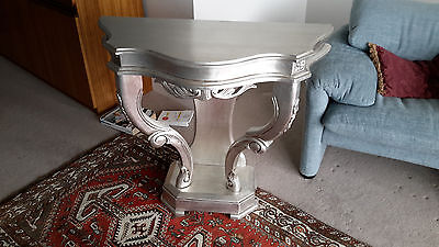 ANTIQUE VINTAGE style timber hall entrance display side table silver color
