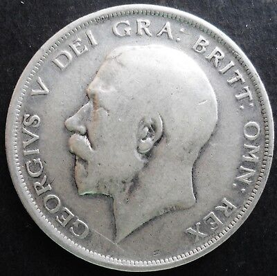 1918 Great Britain Half Crown , VF - XF , high catalog value=