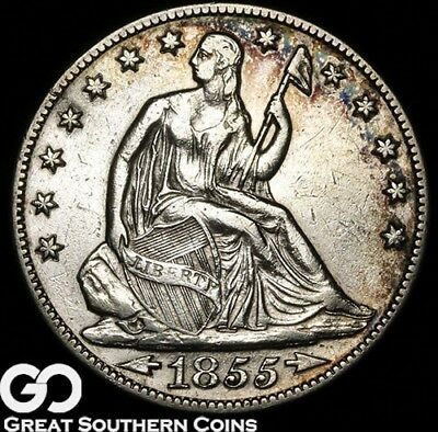 1855-O Seated Liberty Half Dollar, Arrows, Tough New Orleans Issue