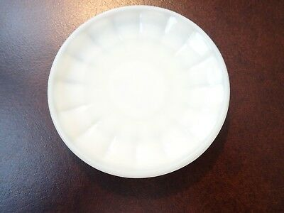 "AKRO AGATE White Opaline Glass Interior Panel Child's SAUCER 3.25"" D"