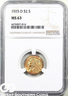 1925-D Quarter Eagle, $2.5 Gold Indian NGC MS 63 ** Tougher This Nice, Free S/H!