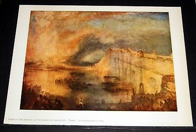 """Old Art Print, """"the Burning Of The House Of Parliament"""", By Turner!"""