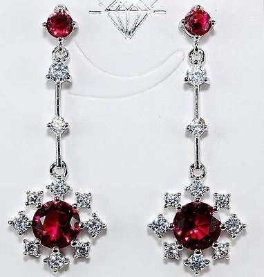 4CT Ruby & White Topaz 925 Solid Sterling Silver Earrings Jewelry , T3-1