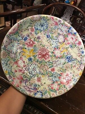 Antique Chinese Qianlong Mark Family Rose Porclain Big Plate Asian China