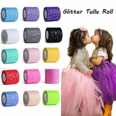 25Y*6.5cm Sequin Tulle Roll Spool Tutu Party Decor Skirt Ornament Glitter Craft