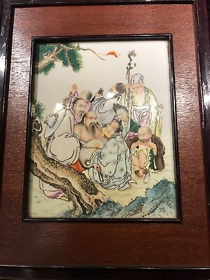 Antique Chinese Porcelain Family Rose 8 Luohans Screen Asian China