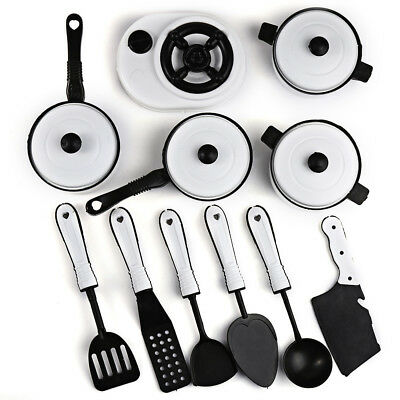 HQ 11pcs Simulation Kitchen Set Cookware Pretend Role Play Toy for Children Kids
